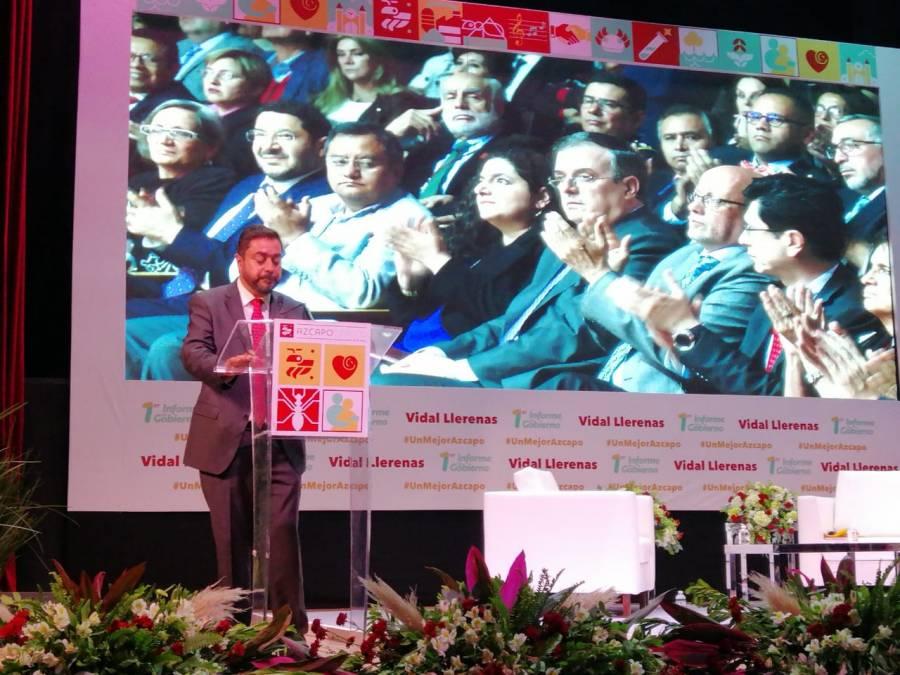 Alcalde Vidal Llerenas rinde primer informe de gobierno. Asiste el canciller Marcelo Ebrard