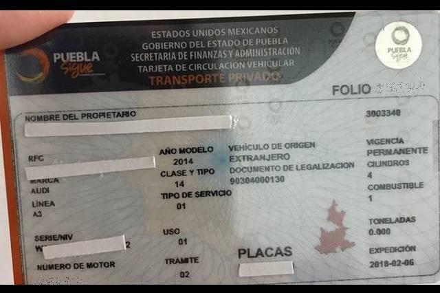 Poblanos pagarán multa 8 mil pesos por no cambiar tarjeta de circulación