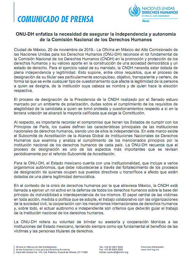 Naciones Unidas cuestiona nombramiento en CNDH