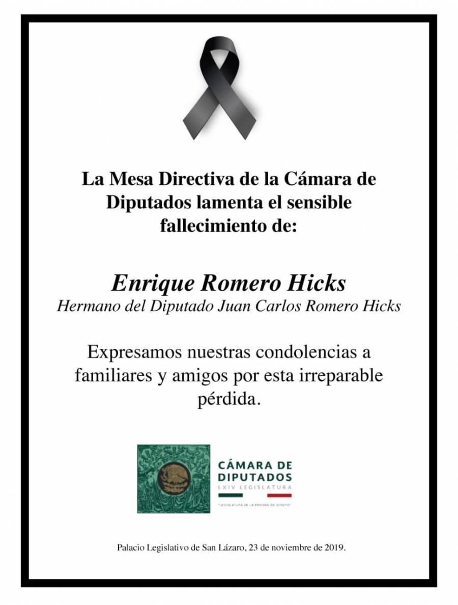 Cámara de Diputados lamenta el fallecimiento de Enrique Romero Hicks