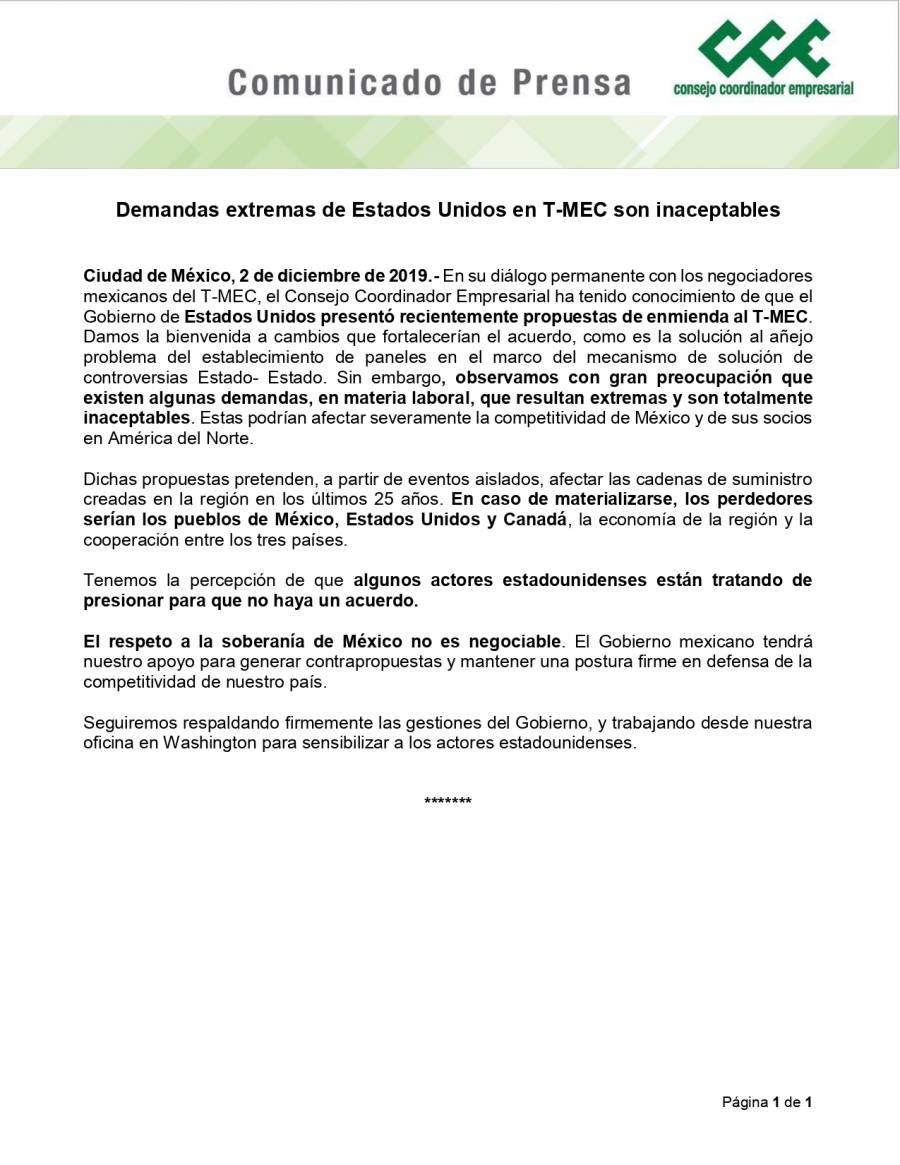 """Extremas y """"totalmente inaceptables"""" medidas del T-MEC: CCE"""