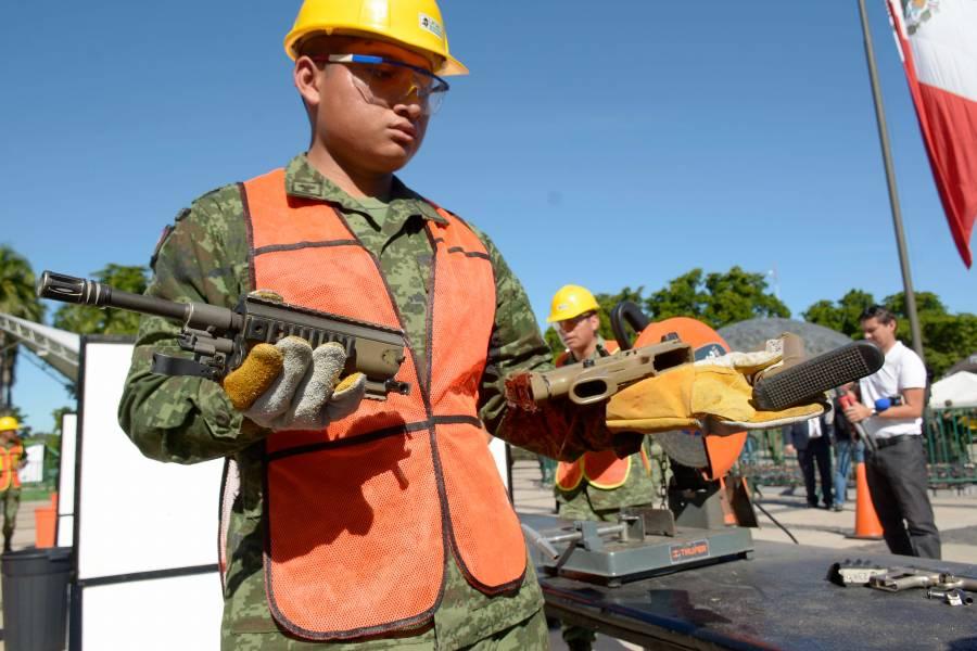 Destruye Sedena más de 19 mil armas decomisadas a la delincuencia