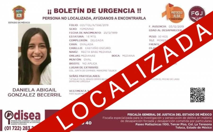 Localizan Daniela Abigail González, desaparecida en el Edomex