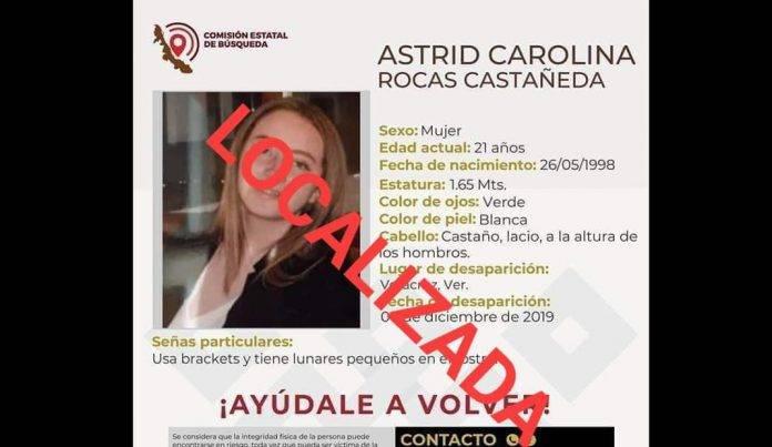 Localizan con vida a Astrid Carolina, en Veracruz