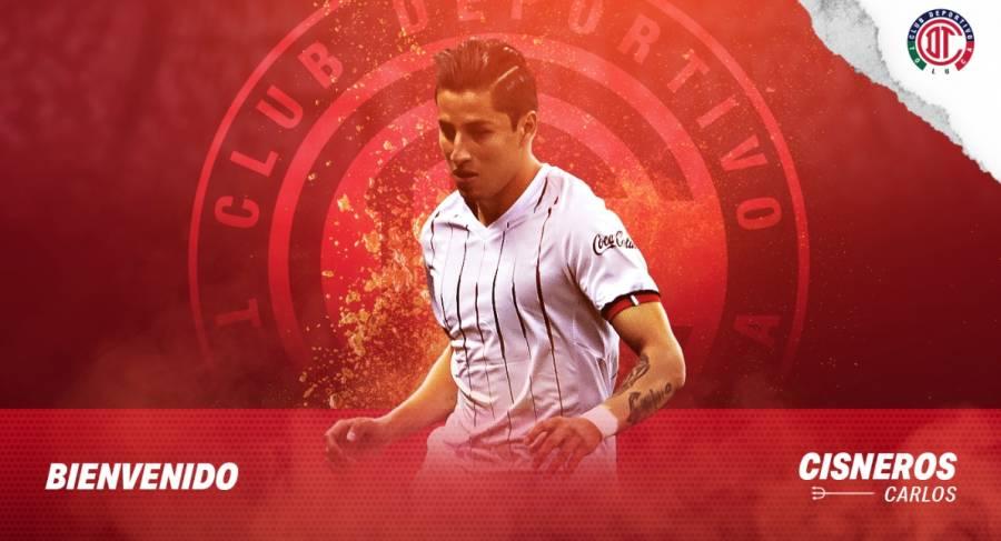 Toluca anuncia el fichaje de Carlos Cisneros