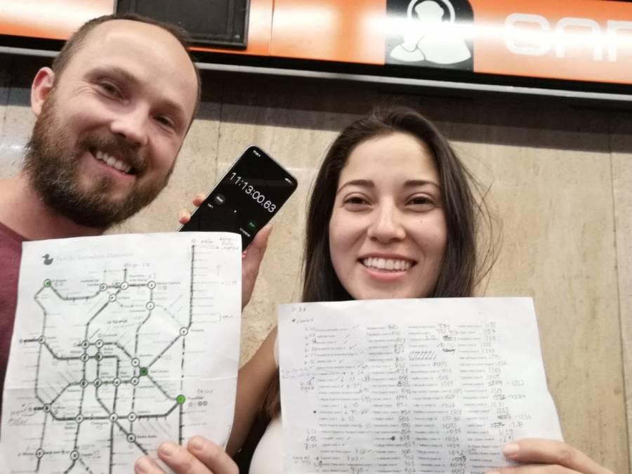En 11 horas y 13 minutos recorrieron dos jóvenes las 195 estaciones del Metro