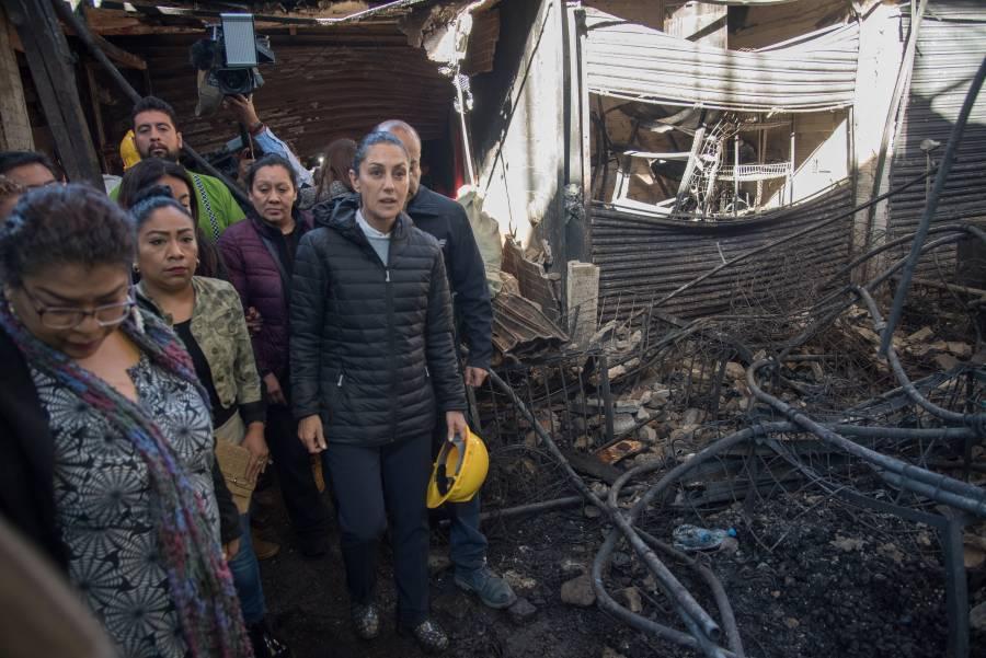 Sobrecarga eléctrica, posible causa de incendio en La Merced: Sheinbaum