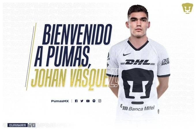 Pumas hace oficial el fichaje de Johan Vásquez
