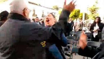 Acompañante de José Manuel Mireles abofetea a mujer manifestante