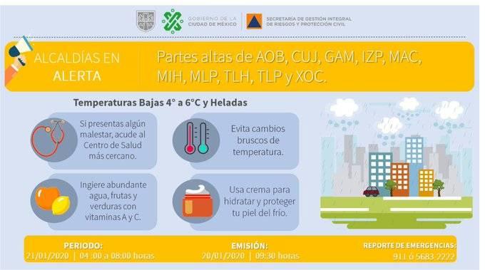 Emiten Alerta Amarilla por bajas temperaturas en 10 alcaldías de la CDMX