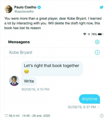 Paulo Coelho eliminará borrador de libro infantil de Kobe Bryant