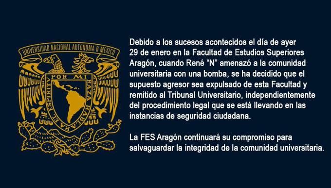 Expulsa FES Aragón a alumno que amenazó con explotar una bomba