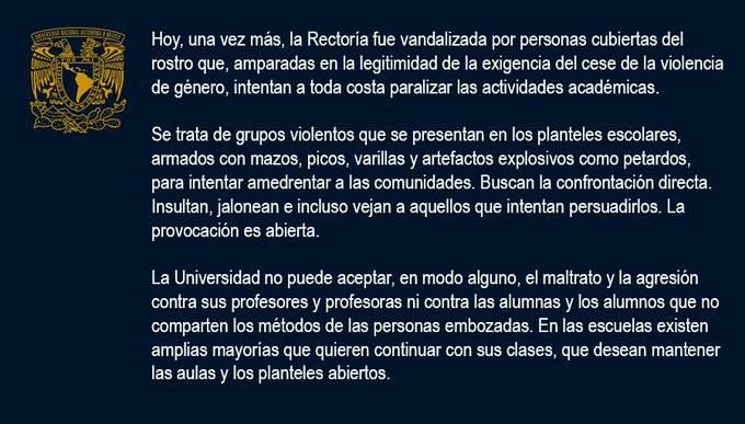 Rechaza UNAM agresiones contra personal e instalaciones