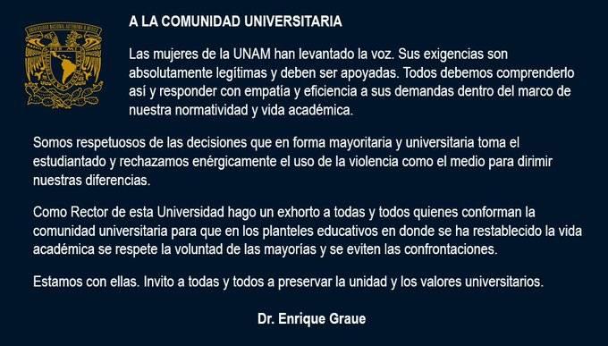 Llama rector de la UNAM a respetar la voluntad de las mayorías y evitar confrontaciones