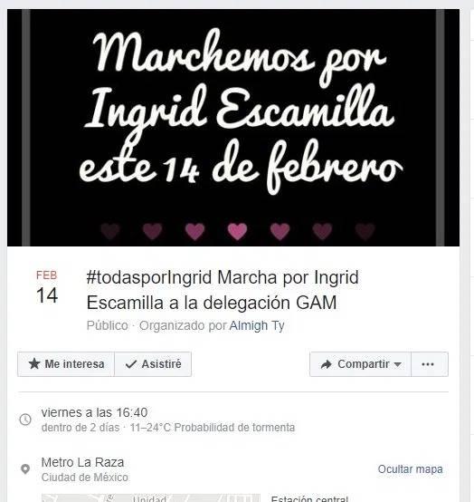 Habrá manifestaciones contra feminicidio de Ingrid el 14 de febrero