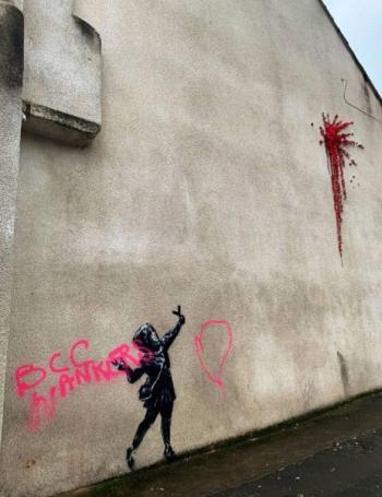 Vandalizan en Reino Unido pintura de Bansky sobre San Valentín