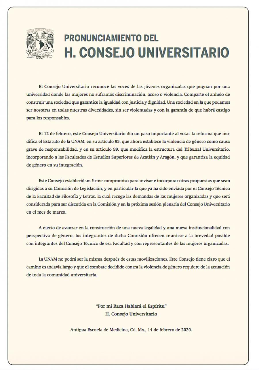 Entran en vigor reformas sobre violencia de género en UNAM