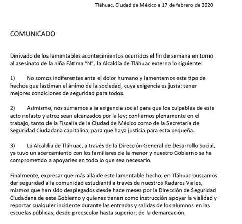 Autoridades de Tláhuac ofrecen apoyo a familia de Fátima