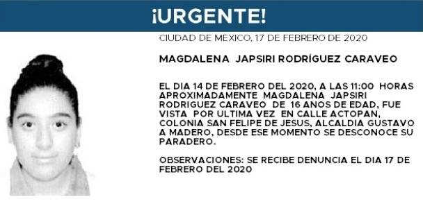 Alerta Amber: Ayuda a localizar a Magdalena, extraviada en la GAM