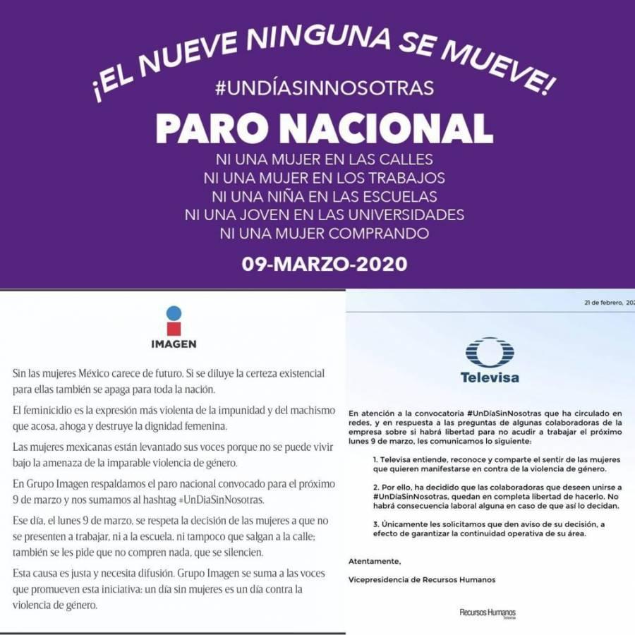 Medios de comunicación nacionales se une a #UnDíaSinNosotras