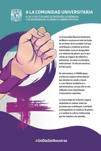 """Se suma UNAM a la iniciativa """"Un día sin nosotras"""" el 9 de marzo"""