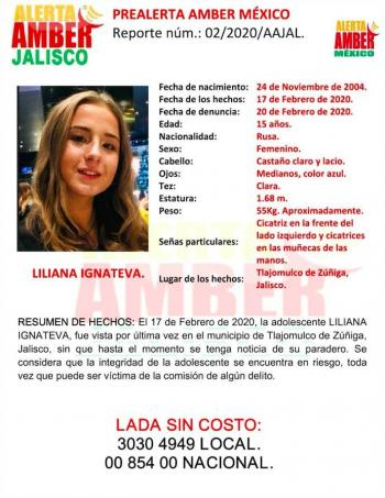 Activan Alerta Amber por desaparición de adolescente rusa en Tlajomulco de Zúñiga