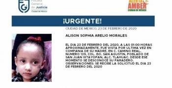 Acivan alerta Amber por desaparición de niña de tres años en alcaldía Tláhuac
