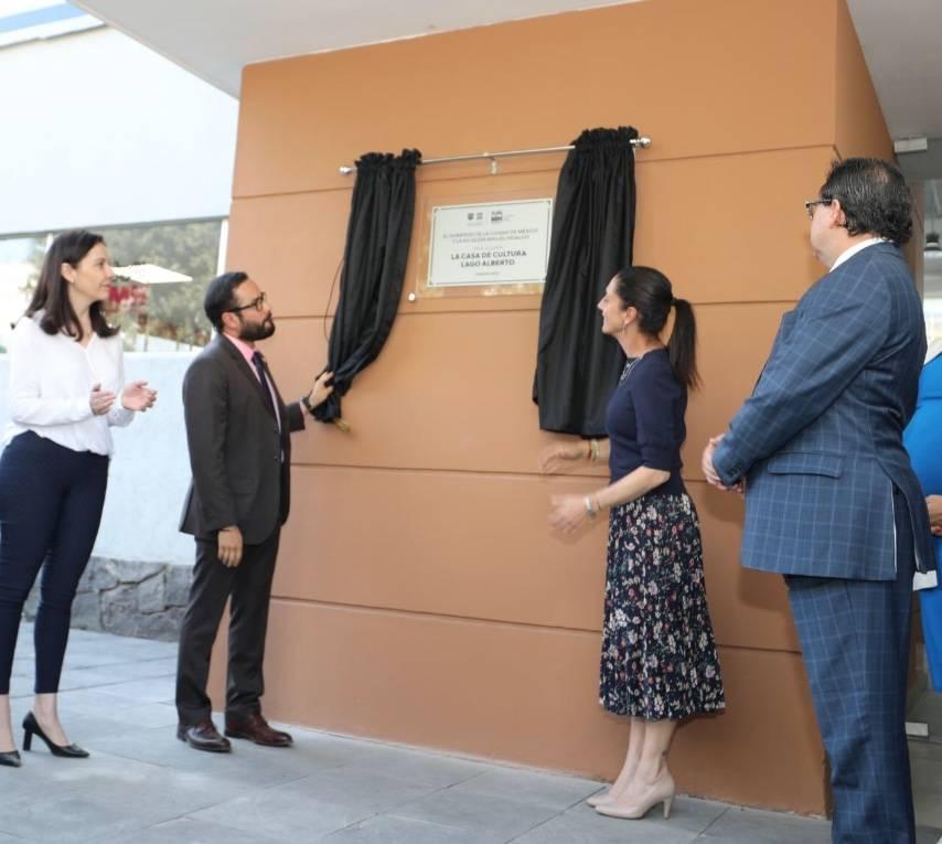 Sheinbaum inaugura el parque Casa de Cultura Lago Alberto en la MH