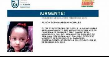 Activan la Alerta Amber para buscar a Alison, de 3 años