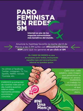 #UnDíaSinNosotras: convocan a paro también en redes sociales