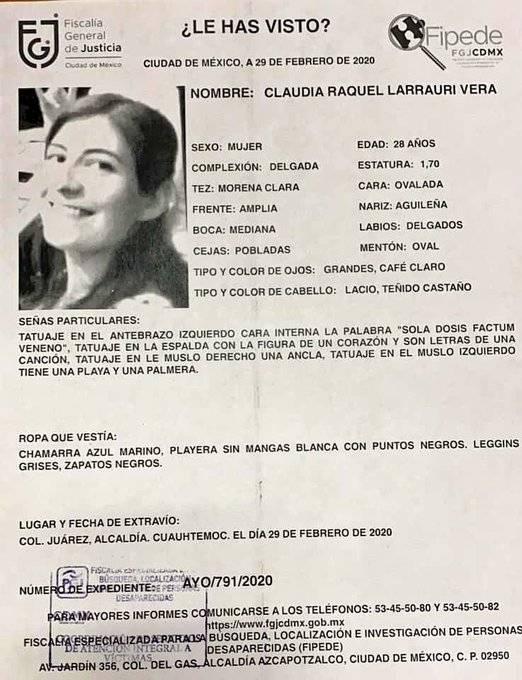 Encuentran viva a Claudia Larrauri Vera, desaparecida en Reforma