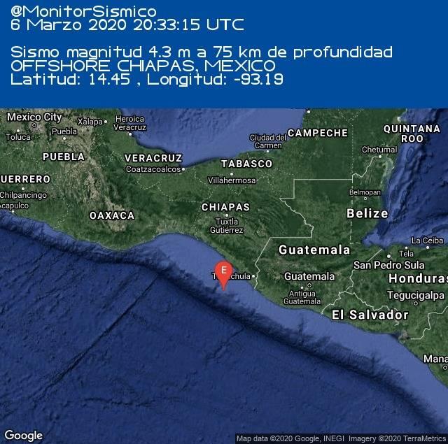 Se registra sismo de 5.0 al suroeste de Chiapas