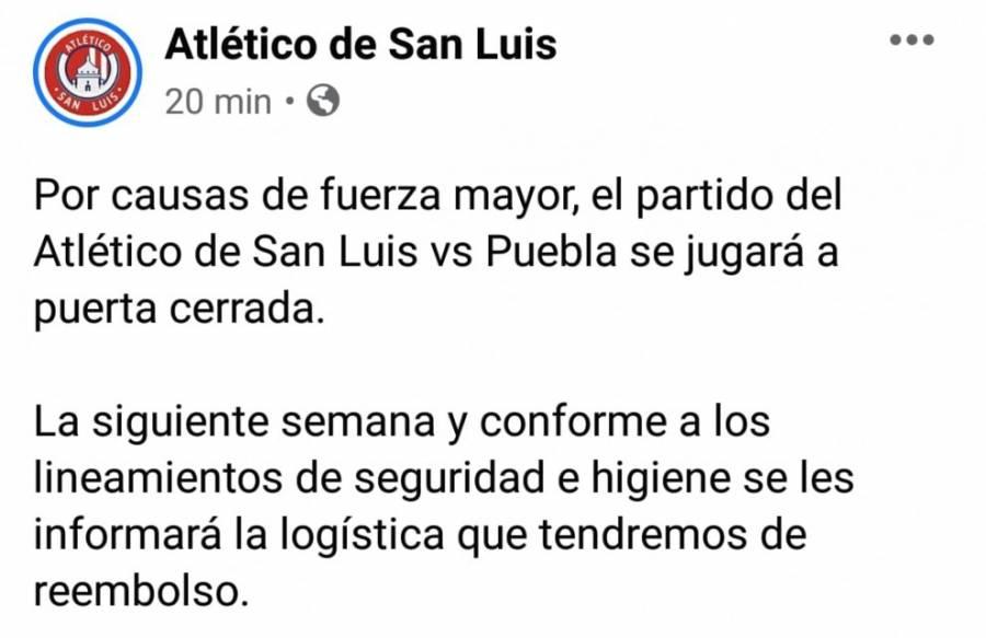 A puerta cerrada partido ADSL vs Puebla por caso de coronavirus