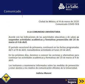 Universidad La Salle suspende actividades presenciales desde el 20 de marzo