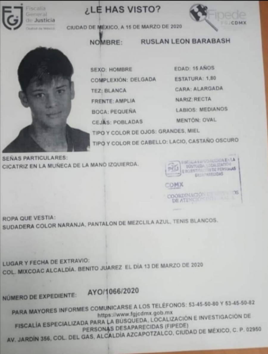 Se activa Alerta Amber para localizar a Ruslan León Barabash
