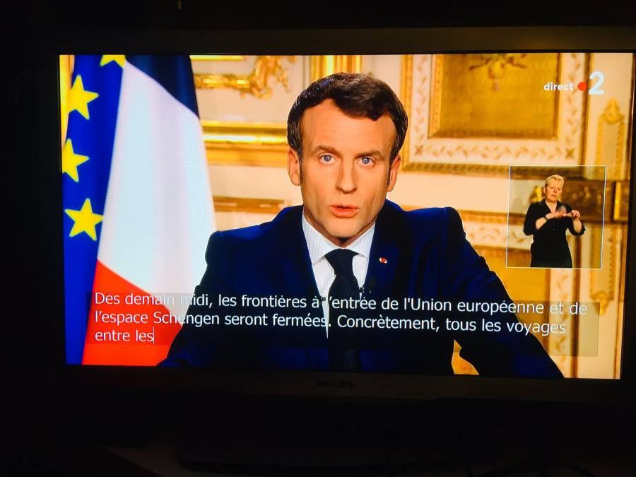 Anuncia presidente de Francia, Emmanuel Macron, cierre de fronteras