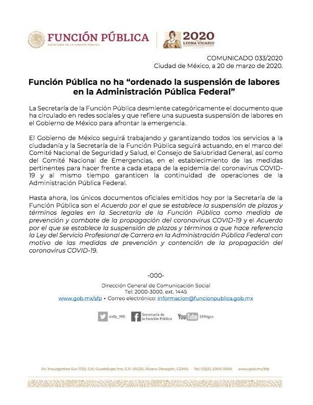 Aclara la SFP que no ha ordenado suspensión de labores en el Gobierno Federal