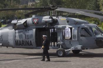 Helicóptero de la Secretaría de Marina se desploma en Veracruz