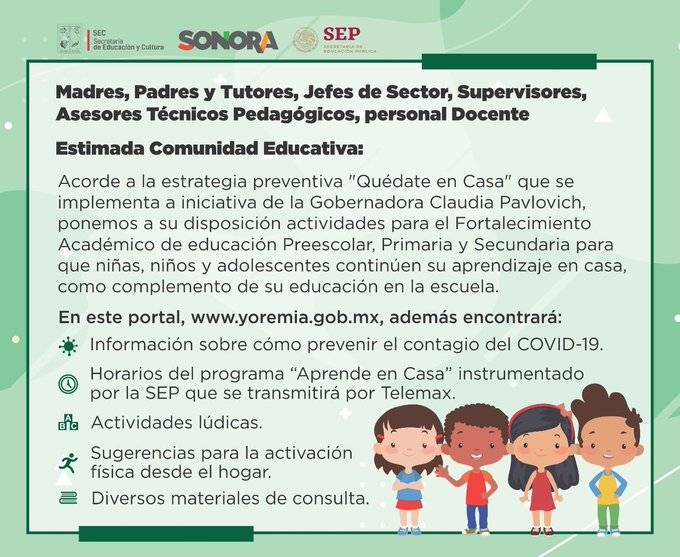 Ante la cuarentena por Covid-19, habilitan plataforma para alumnos de educación básica en Sonora