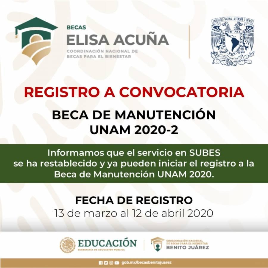 UNAM lanza convocatoria para la beca de Apoyo a la Manutención