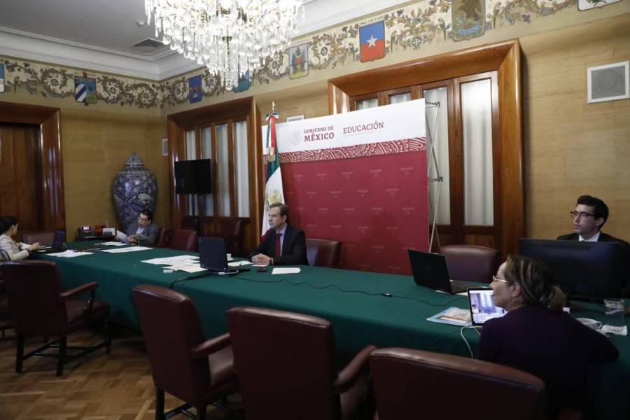 Esteban Moctezuma tiene videoconferencia con Ministros de Educación de Hispanoamérica y España presume educación a distancia para evitar el contagio por coronavirus