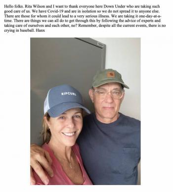 Tom Hanks y Rita Wilson regresan a EU tras superar el coronavirus