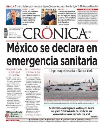 Grupo Crónica dejará de publicar impreso por coronavirus
