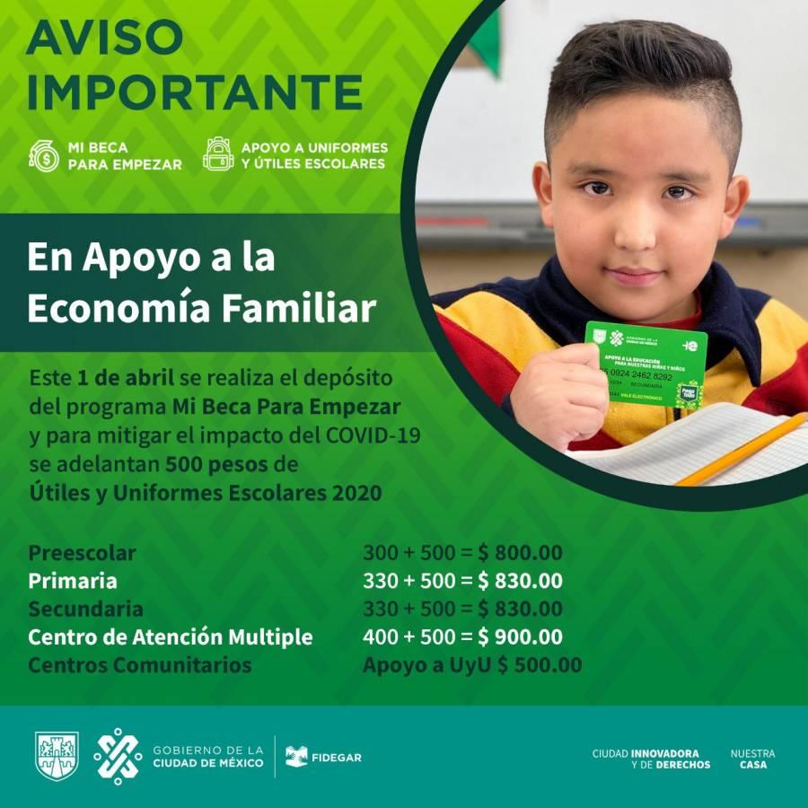 1 de abril se depositarán los primeros apoyos económicos a estudiantes de educación básica