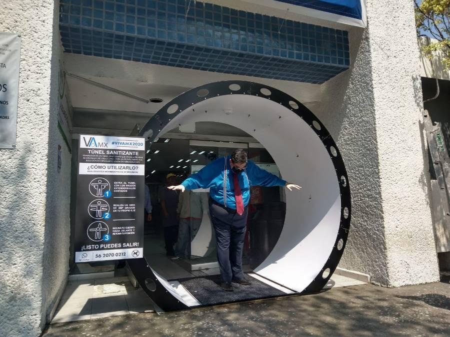 Instalan túnel sanitizante FGJ de Tlalpan para evitar propagación de coronavirus