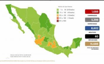 Hay 60 muertos en México por Covid-19, 10 más que ayer
