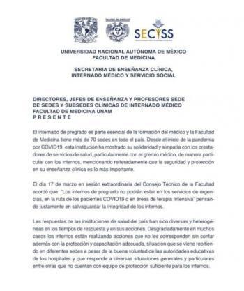 UNAM y Poli separan a pasantes de hospitales por falta de protección