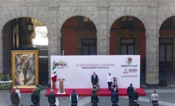 En breve ceremonia conmemoran el 101 aniversario luctuoso de Emiliano Zapata