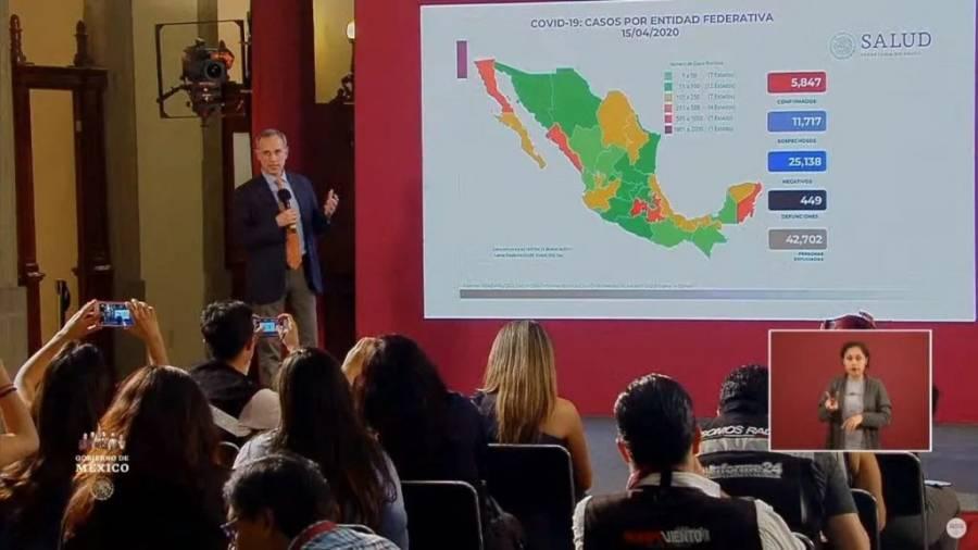 Asciende a 5 mil 847 el número de casos confirmados de Covid-19 en México