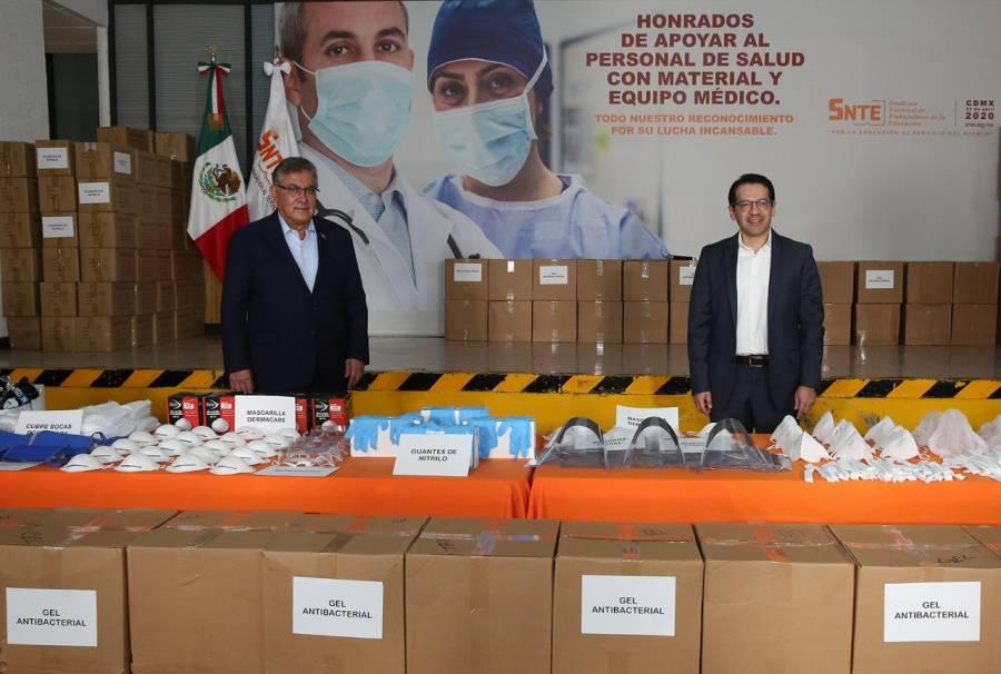 SNTE dona 989 mil insumos de higiene y protección para personal médico